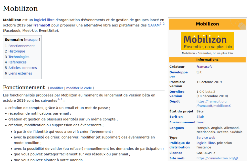 Capture d'écran de la page Mobilizon sur Wikipédia.